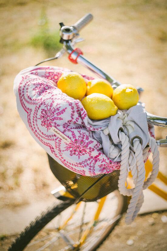 Lemons and summer bag
